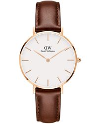 Daniel Wellington Classic Petite Bristol Rose Gold And Leather Strap Watch