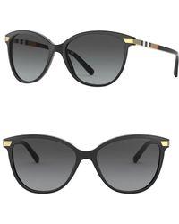 7f3629185ab2 Burberry - 57mm Vintage Check Cat Eye Sunglasses - Lyst
