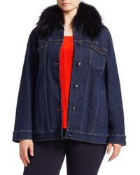 Marina Rinaldi - Fox Fur Collar Denim Jacket - Lyst