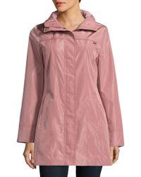 Ellen Tracy - Snap Front Packable Raincoat - Lyst