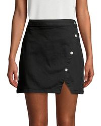 Free People Notched Denim Skirt - Black