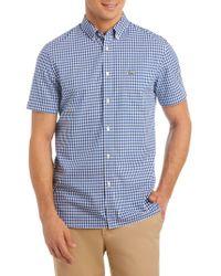 Lacoste - Gingham Regular-fit Cotton Poplin Button-down Shirt - Lyst