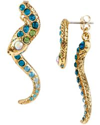 Betsey Johnson - Ocean Drive Pave Crystal Snake Front And Back Linear Earrings - Lyst