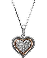 Lord & Taylor - Sterling Silver And 14kt. Rose Gold Diamond Heart Pendant Necklace - Lyst