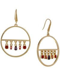 Laundry by Shelli Segal - Sierra Shades Goldtone & Crystal Hoop Drop Earrings - Lyst