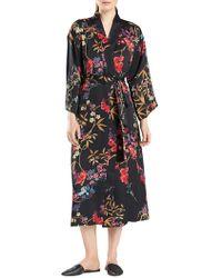 N Natori - Floral-print Silky Satin Wrap Robe - Lyst
