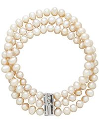 Lord & Taylor - Three-row Diamond And Freshwater Pearl Bracelet - Lyst