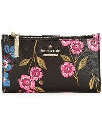 Kate Spade - Floral Leather Card Case Wallet - Lyst