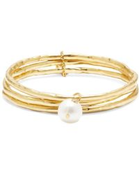 Sole Society 3-pack 13mm Freshwater Pearl Goldtone Bangle Set