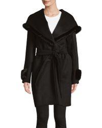 Cinzia Rocca - Mink Fur-trimmed Wrap Coat - Lyst