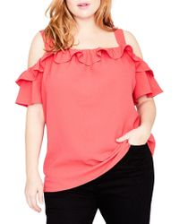 RACHEL Rachel Roy - Trendy Plus Size Ruffled Cold-shoulder Top - Lyst