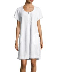 Miss Elaine - Textured Full-zip Sleepshirt - Lyst