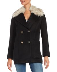 Eliza J - Faux Fur Trimmed Walking Coat - Lyst