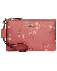 COACH - Small Floral Bow Wristlet - Lyst