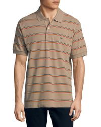 Lacoste - Short-sleeve Mini Striped Regular-fit Pique Polo - Lyst