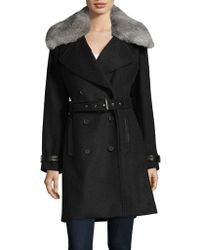 Andrew Marc - Trench Coat With Detachable Fur Collar - Lyst