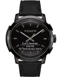COACH - Round Leather Strap Smart Watch - Lyst