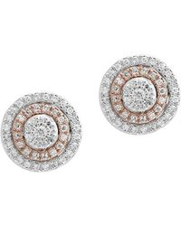 Effy - 0.38 Tcw Diamond And 14k White And Rose Gold Stud Earrings - Lyst