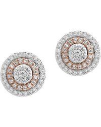 Effy - Diamond And 14k White And Rose Gold Stud Earrings - Lyst