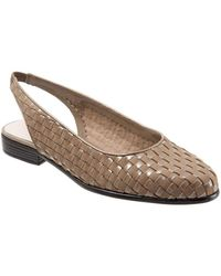 Trotters - Lucy Leather And Suede Woven Slingback Flats - Lyst