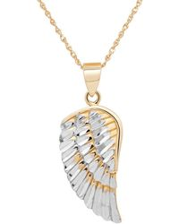 Lord & Taylor - 14k Yellow-gold Angel Wing Pendant Necklace - Lyst