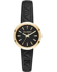Karl Lagerfeld - Janelle Leather Strap Watch - Lyst