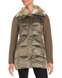 French Connection - Faux Fur-trimmed Puffer Coat - Lyst