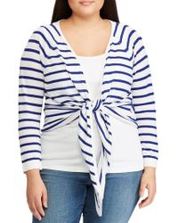 Lauren by Ralph Lauren Plus Striped Linen-blend Sweater