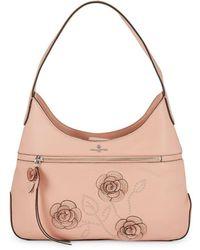 Karl Lagerfeld - Martina Studded Floral Applique Hobo - Lyst