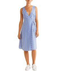 Mango - Striped Cotton Wrap Dress - Lyst