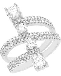 Lord + Taylor Rhodium-plated 925 Sterling Silver & Cubic Zirconia Stacked Open-work Swirl Ring