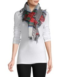 Lord & Taylor - Reversible Tartan Houndstooth Side Fringe Wrap - Lyst