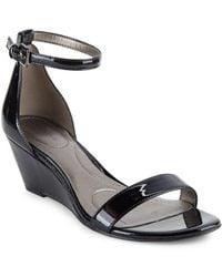 Bandolino - Omira Patent Wedge Sandals - Lyst