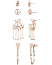 81e96d1b8 BCBGeneration - Festival Fashion Peace Sign 4-pair Rose Goldtone Earrings -  Lyst