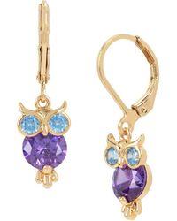 Betsey Johnson - Crystal Owl Drop Earrings - Lyst