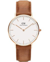 Daniel Wellington - Classic Durham Rose Gold And Leather Strap Watch - Lyst