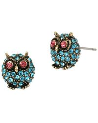 Betsey Johnson - Delicates Pave Owl Stud Earrings - Lyst