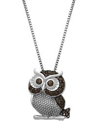 Lord & Taylor - Sterling Silver Smokey Quartz Owl Pendant Necklace - Lyst