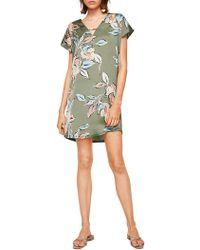 Mango - Short Sleeve Printed Smock Dress - Lyst