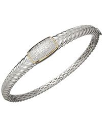 Lord & Taylor - Sterling Silver With 14k Yellow Gold Diamond Bangle Bracelet - Lyst