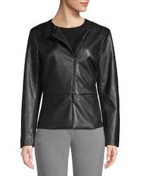Isaac Mizrahi New York - Peplum Faux Leather Jacket - Lyst