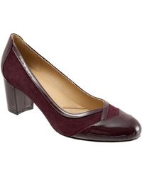Trotters - Phoebe Patent Leather And Suede Court Shoes - Lyst