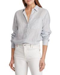 Lauren by Ralph Lauren - Striped Relaxed-fit Linen Button-down Shirt - Lyst