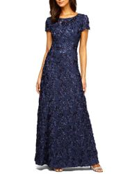 Alex Evenings - Sequined-lace Rosette-rose Gown - Lyst