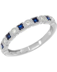 Lord & Taylor - 14k White Gold Sapphire And Diamond Eternity Ring - Lyst