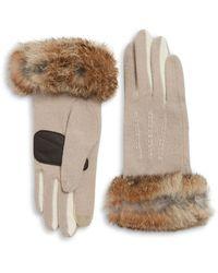 Echo - Rabbit Fur Cuff Gloves - Lyst