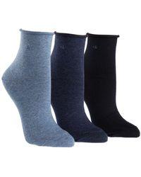 Calvin Klein - Three-pack Roll Top Ankle Socks - Lyst