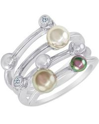 Majorica - 4mm Multicolour Round Pearl & Sterling Silver Endless Wrap Ring - Lyst