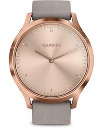 Garmin - Vivomove Rose Goldtone Stainless Steel & Suede-strap Smart Watch - Lyst