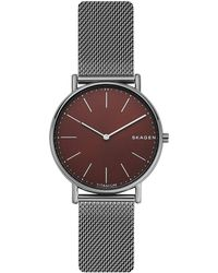 Skagen - Signatur Slim Titanium And Stainless Steel Mesh-strap Watch - Lyst